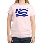 Waving Greek Flag Women's Pink T-Shirt