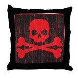 Red Pirate Skull Crossbones Throw Pillow