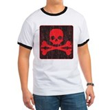 Red Pirate Skull Crossbones T