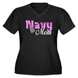 Navy Mom Women's Plus Size V-Neck Dark T-Shirt