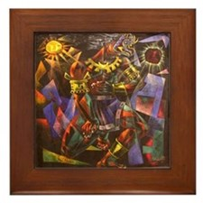 Vela Zanetti Aztec Sun God Framed Art Tile