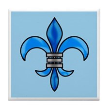 Blue on Blue Fleur de Lis Tile Coaster