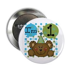 Bear 1st Birthday Button