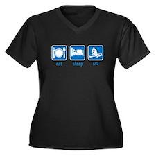 eat sleep ski Women's Plus Size V-Neck Dark T-Shir