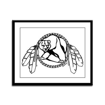 First Nations Tribal Bear Art Framed Panel Print