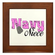 Navy Niece Framed Tile