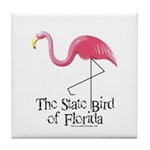 Pink Plastic Flamingo Tile Coaster