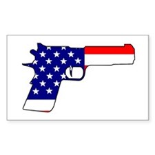 USA flag gun Rectangle Decal
