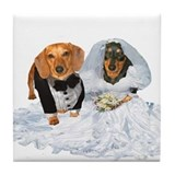 Wedding Dachshunds Dogs Tile Coaster