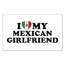 I Love My Mexican Girlfriend Sticker (Rectangular
