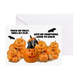 Dachshund Halloween (Black & Tan) Greeting Card