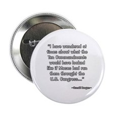 "President Reagan on Ten Commandments 2.25"" Button"