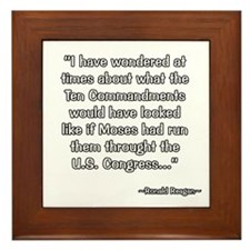 President Reagan on Ten Commandments Framed Tile