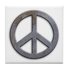 Distressed Metal Peace Sign Tile Coaster