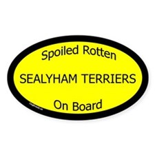 Spoiled Sealyham Terriers On Board Oval Decal
