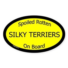 Spoiled Silky Terriers On Board Oval Decal