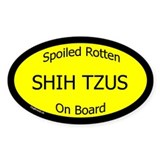 Spoiled Shih Tzus On Board Oval Decal