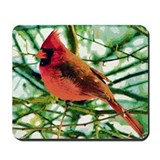 Cardinal Gouache Photo Art Mousepad