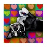 BOSTON TERRIER VALENTINE HEARTS Tile Coaster