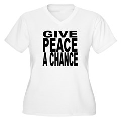 Give Peace A Chance Women's Plus Size V-Neck T-Shi