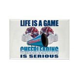 Life Is A Game Cheerleading Rectangle Magnet