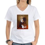 Lincoln's 2 Corgis (Pem) Women's V-Neck T-Shirt