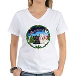 Santa's Take Off (2) = 2 Scotties Women's V-Neck T