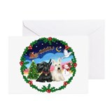 Santa's Take Off (2) = 2 Scotties Greeting Cards (