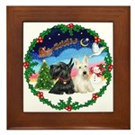 Santa's Take Off (2) = 2 Scotties Framed Tile