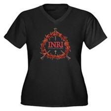 INRI Women's Plus Size V-Neck Dark T-Shirt
