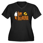Happy HalloWEINER Women's Plus Size V-Neck Dark T-