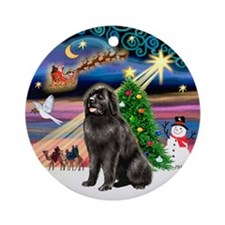 Xmas Magic & Newfie (1) Ornament (Round)