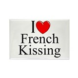 """I Love (Heart) French Kissing"" Rectangle Magnet"