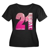 21 Legal Women's Plus Size Scoop Neck Dark T-Shirt