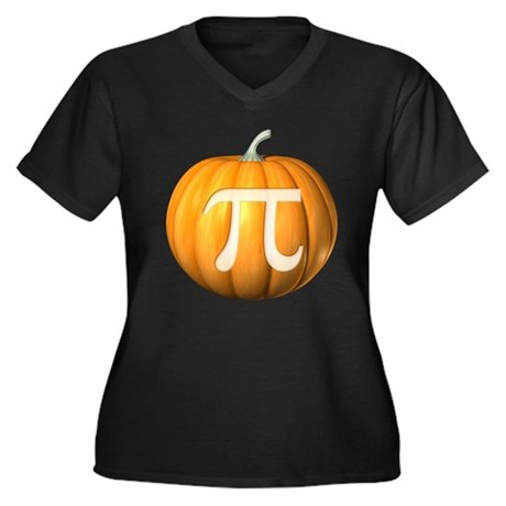 Pumpkin Pi Women's Plus Size V-Neck Dark T-Shirt