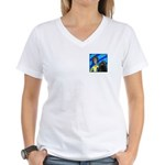 DOG WITH DREADLOCKS Women's V-Neck T-Shirt