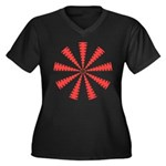 Pattern 002 Women's Plus Size V-Neck Dark T-Shirt