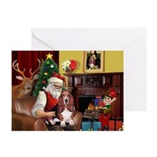 Santa's Basset Hound Greeting Cards (Pk of 20)
