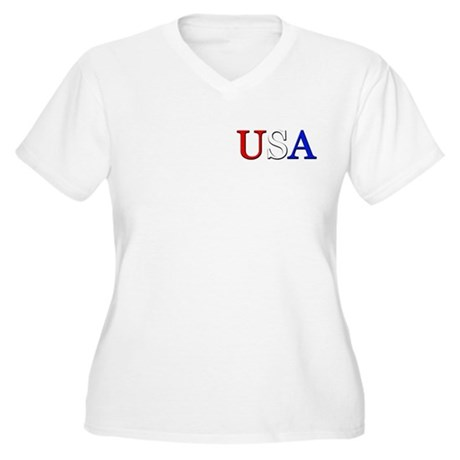 USA Women's Plus Size V-Neck T-Shirt