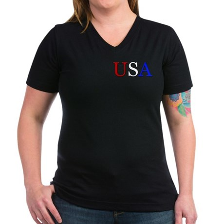 USA Women's V-Neck Dark T-Shirt