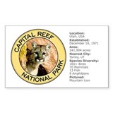 Capital Reef NP (Mountain Lion) Sticker (Rectangul
