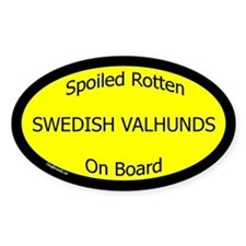 Spoiled Swedish Valhunds On Board Oval Decal