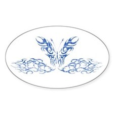 Blue Butterfly with Flames Oval Decal