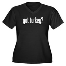 got turkey? Women's Plus Size V-Neck Dark T-Shirt