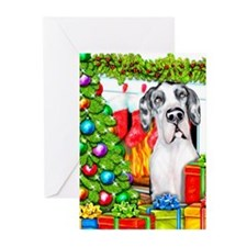 Great Dane Stockings Harle UC Greeting Cards (Pk o