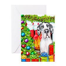 Great Dane Stockings Harle UC Greeting Card