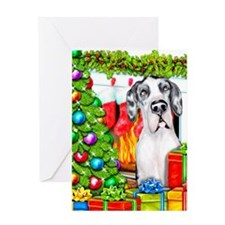 Great Dane Stockings Harlequin UC Greeting Card