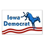 Rectangular Iowa Democrat Sticker