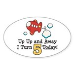 5th Birthday Airplane Oval Sticker
