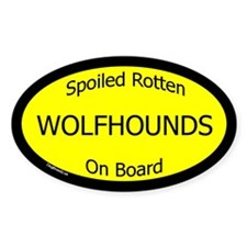 Spoiled Wolfhounds On Board Oval Decal